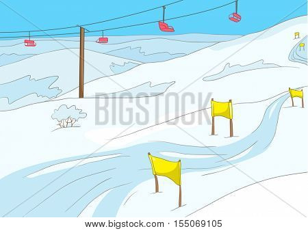Hand drawn cartoon of infrastructure for winter sports. Cartoon background of mountains ski resort. Cartoon of snowboard and ski park. Background of ski lift and slope in ski resort in the mountains.