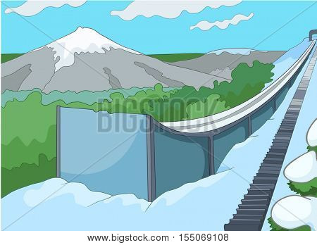 Hand drawn cartoon of infrastructure for winter sports. Cartoon background of ski resort. Cartoon of ski springboard. Cartoon of snowboard and ski park in sunny day. Background of slope in ski resort