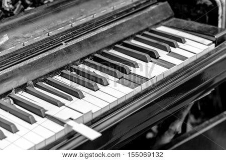 Close-up broken piano keyboard - stock photo