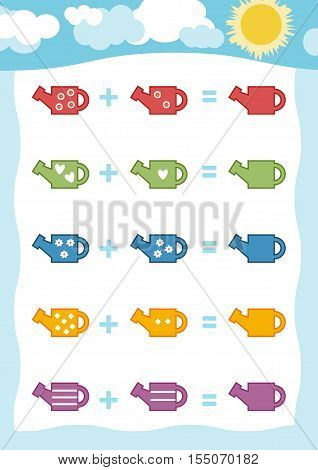Counting Game for Preschool Children. Educational a mathematical game. Count the numbers in the picture and write the result. Addition worksheets with watering can