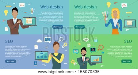 Web design, SEO infographic concept set. Man and woman with laptop presents new web design on background with communication and design icons. Website development project, SEO process information.