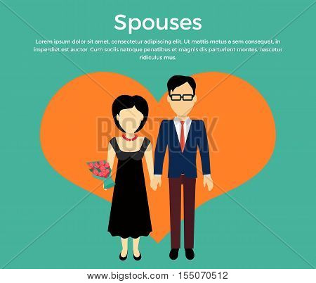 Spouses concept vector. Flat design. Male and female without faces in formal wear holding hands on background of big heart silhouette. Illustration for engagement, marriage, anniversary invocations.
