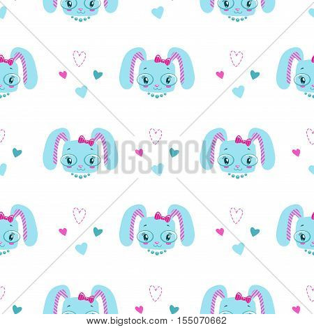 Funny girlish seamless pattern with cute bunny faces and hearts. Vector texture for textile design.