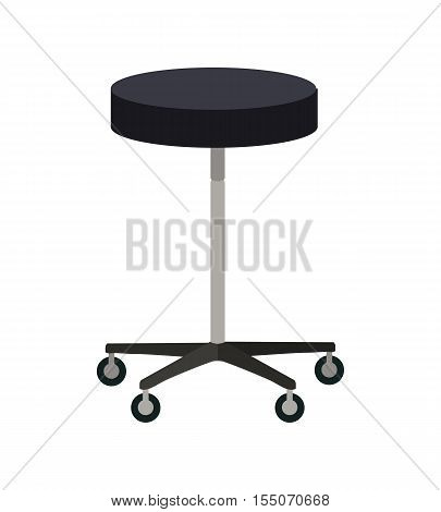 Stool on wheels vector. Flat design. Simple round chair with four wheels. Traditional furniture for clinic, bar, hairdresser, shop, office. Isolated on white background.
