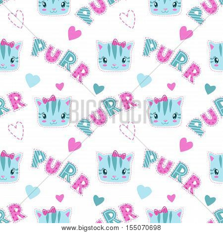 Funny girlish seamless pattern with cute kitty faces and slogans. Vector texture for textile design.