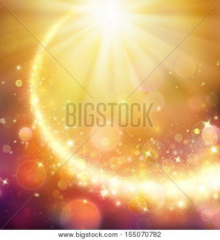 Christmas Comet - Golden Star Shining In Defocused Background