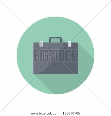 Briefcase vector icon in flat style. Business accessory, career concept. Illustration for application button pictograms, infogpaphics elements, logo, web page design. Isolated on white background