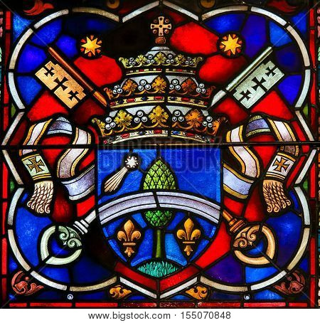 Coat Of Arms - Stained Glass In Mechelen Cathedral
