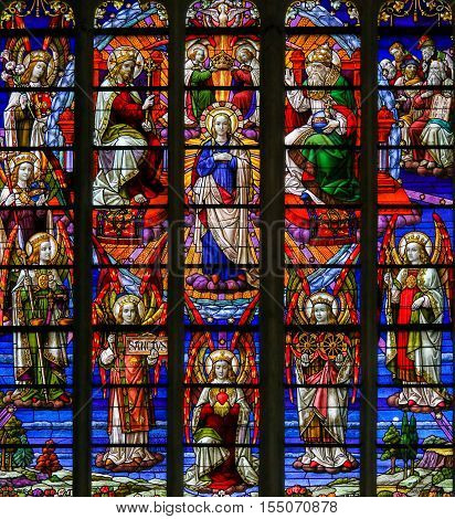Stained Glass - Coronation Of Mother Mary By The Holy Trinity