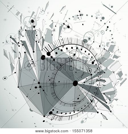 Dimensional mechanical scheme black and white futuristic vector engineering drawing created with circles and connected lines. 3d cybernetic tech background made using low poly object with splinters.