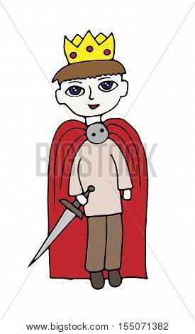 Colorful little boy in suit of a prince with crone on the head standing over white background. Coloring book page for kids and adults.