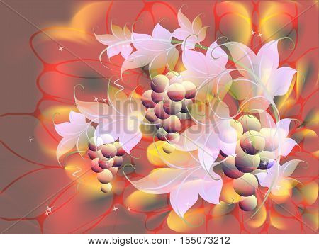 Decorative bunches of grapes and leaves on autumn background in red and orange shades. EPS10 vector illustration.