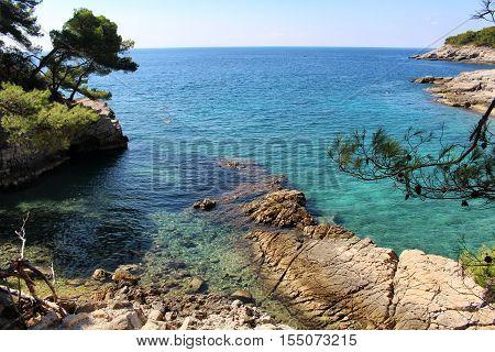 Pula Croatia - September 29 2016: Amazing view of Valovine beach and its transparent waters