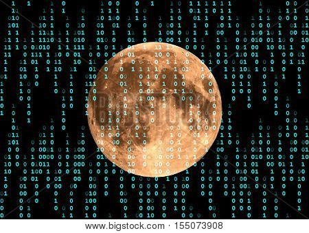 In the universe sent electronic message with full moon in the background.