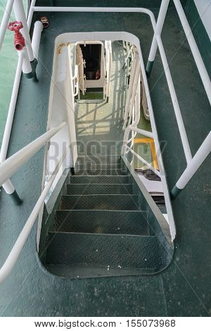 stairs step down in cruise ship - Stock Photo