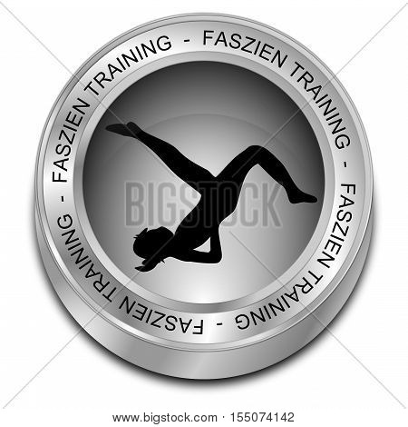 silver Fascia Training button - in german - 3D illustration