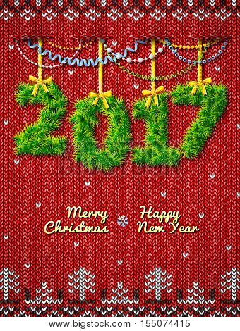 New Year 2017 of twigs as christmas decoration. Christmas congratulation against knitted background. Vector illustration for new years day christmas winter holiday new years eve silvester etc
