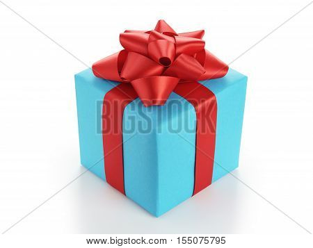 blue gift box with red ribbon bow isolated on white background