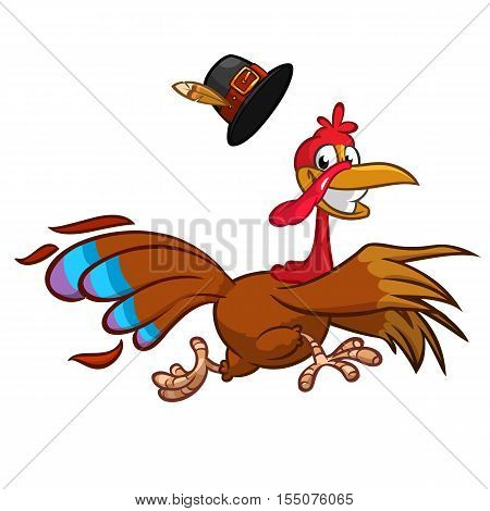 Happy turkey cartoon running. Vector cartoon bird