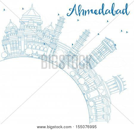 Outline Ahmedabad Skyline with Blue Buildings and Copy Space. Business Travel and Tourism Concept with Historic Architecture. Image for Presentation Banner Placard and Web Site.