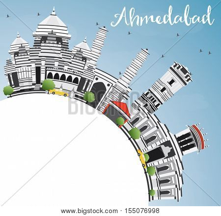 Ahmedabad Skyline with Gray Buildings, Blue Sky and Copy Space. Business Travel and Tourism Concept with Historic Architecture. Image for Presentation Banner Placard and Web Site.