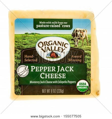 Winneconne WI - 2 November 2016: Package of Organic Valley pepper jack cheese on an isolated background.
