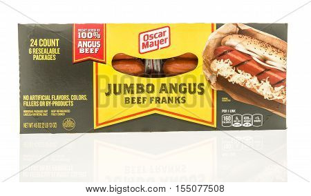 Winneconne WI - 2 November 2016: Box of Oscar Mayer jumbo angus beef franks on an isolated background.