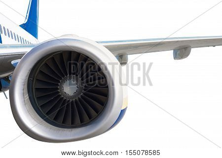 Close up of turbojet's aero-engine isolated on white background. Clipping path included.