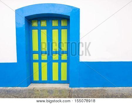 Colorful colonial door in San Cristobal de las Casas, Chiapas, Mexico