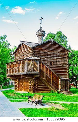 View of the wooden Michael the Archangel Chapel in Slobodskoy. Russia.