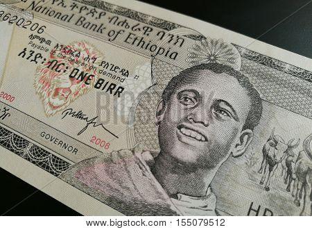 Close up of Ethiopian birr, Ethiopia paper bank note money