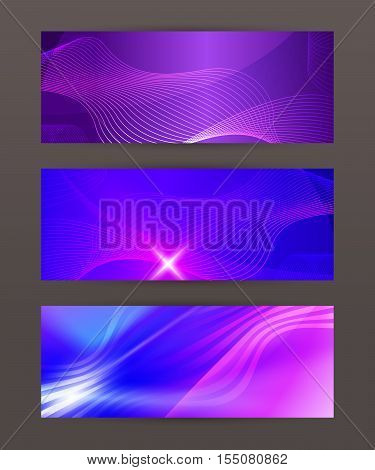 Set Horizontal Banner Design Element Background Glow Abstract Shape04