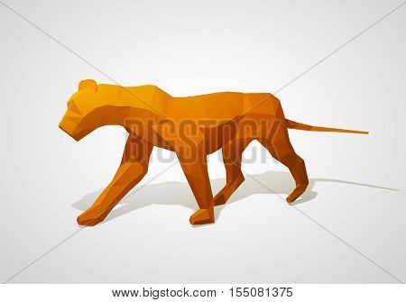 Origami lion. Polygonal lion. Walking geometric style lion. 3D illustration