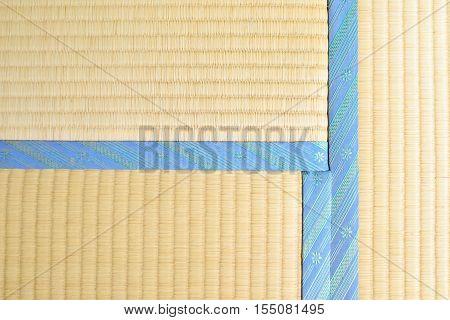 Tatami with light blue edging ribbon, intersecting corner