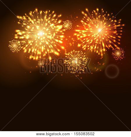 Firework new year holiday celebration template. Vector firework flame carnival event background.