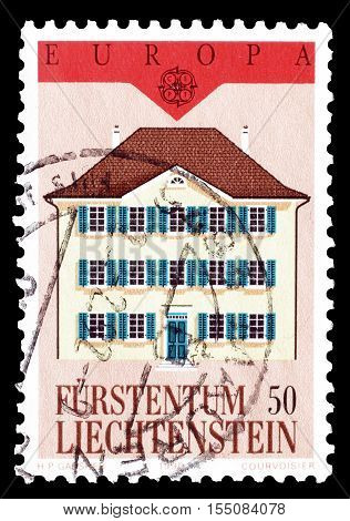 LIECHTENSTEIN - CIRCA 1990 : Cancelled postage stamp printed by Liechtenstein, that shows Post office.