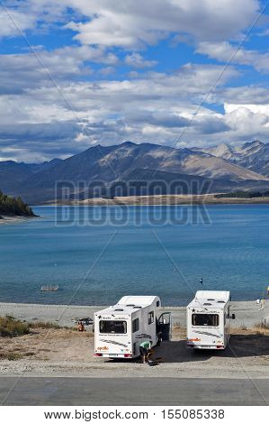 Tekapo, New Zealand - February 2016: Motorhome Parking By Lakeside At Lake Tekapo, South Island Of N