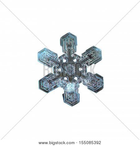 Snowflake isolated on white background. This is macro photo of real snow crystal: large stellar dendrite with short, broad arms and beautiful and complex pattern inside.