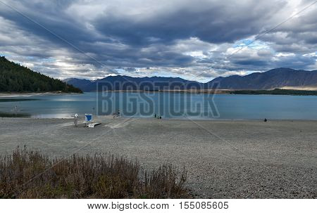 Tekapo, New Zealand - February 2016: Beach Activities By Lake Tekapo, South Island Of New Zealand