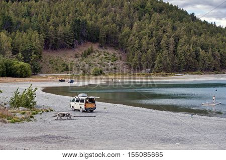 Tekapo, New Zealand - February 2016: Campervan Parking By Lakeside At Lake Tekapo, South Island Of N