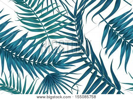 Seamless tropical pattern, exotic background with palm tree branches, leaves, leaf, palm leaves. endless texture isolated on white
