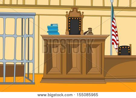 Hand drawn cartoon of court interior. Colourful cartoon of courtroom. Background of courtroom interior. Cartoon of empty courtroom with judge chair and table. Cartoon of vintage courtroom with cage.