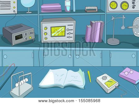 Hand drawn cartoon of physics laboratory. Colourful cartoon of physics laboratory workplace with equipment for physics experiments. Background of working place of scientist in research laboratory.