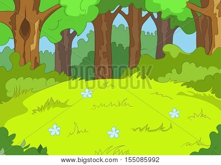 Hand drawn cartoon of summer landscape. Colourful cartoon of summer background. Cartoon background of summer forest. Cartoon of forest glade with flowers. Cartoon of greenwood landscape.