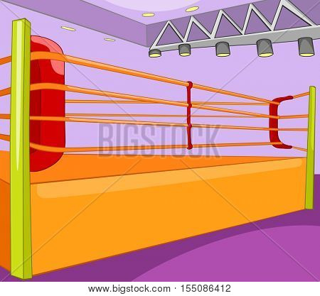Hand drawn cartoon of sport stadium. Cartoon background of boxing ring. Background of empty boxing ring. Cartoon of boxing ring. Background of empty professional boxing ring.