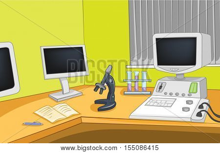 Hand drawn cartoon of physics laboratory interior. Colourful cartoon of physics laboratory workplace with microscope and computer. Background of working place of scientist in research laboratory.