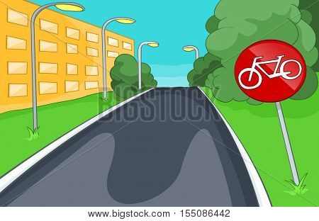 Hand drawn cartoon of sport city infrastructure. Cartoon background of bicycle lane. Background of empty bike lane in the city. Cartoon of bike lane in the city street.