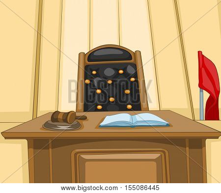 Hand drawn cartoon of court interior. Colourful cartoon of courtroom. Background of courtroom interior. Cartoon of empty courtroom with judge chair. Cartoon of courtroom with mallet on judge table.