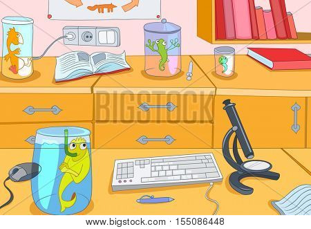 Hand drawn cartoon of chemical laboratory interior. Colourful cartoon of chemical laboratory workplace with beakers with animals. Background of working place of scientist in animal laboratory.