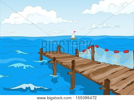 Hand drawn cartoon of summer landscape. Colourful cartoon of summer background. Cartoon background of seafront with pier. Background of seascape at sunny summer day. Cartoon of blue sea with sailboat.